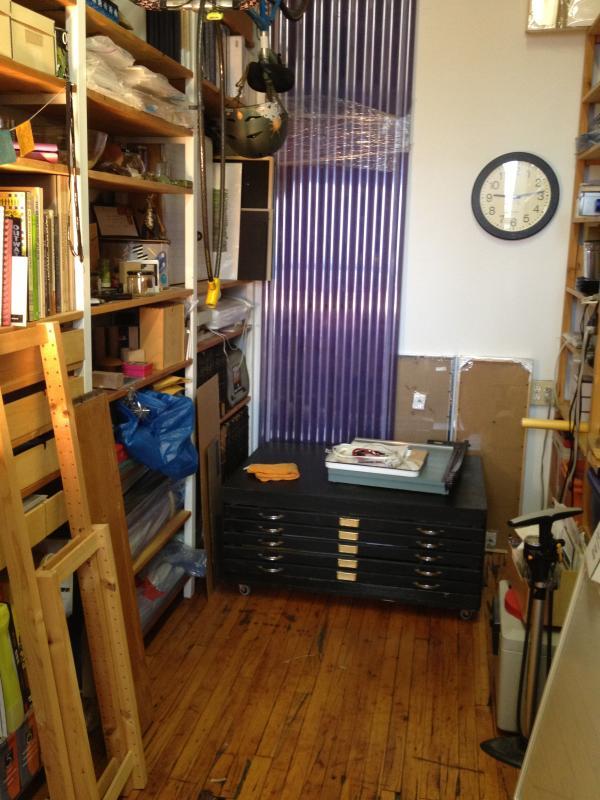 my studio storage area