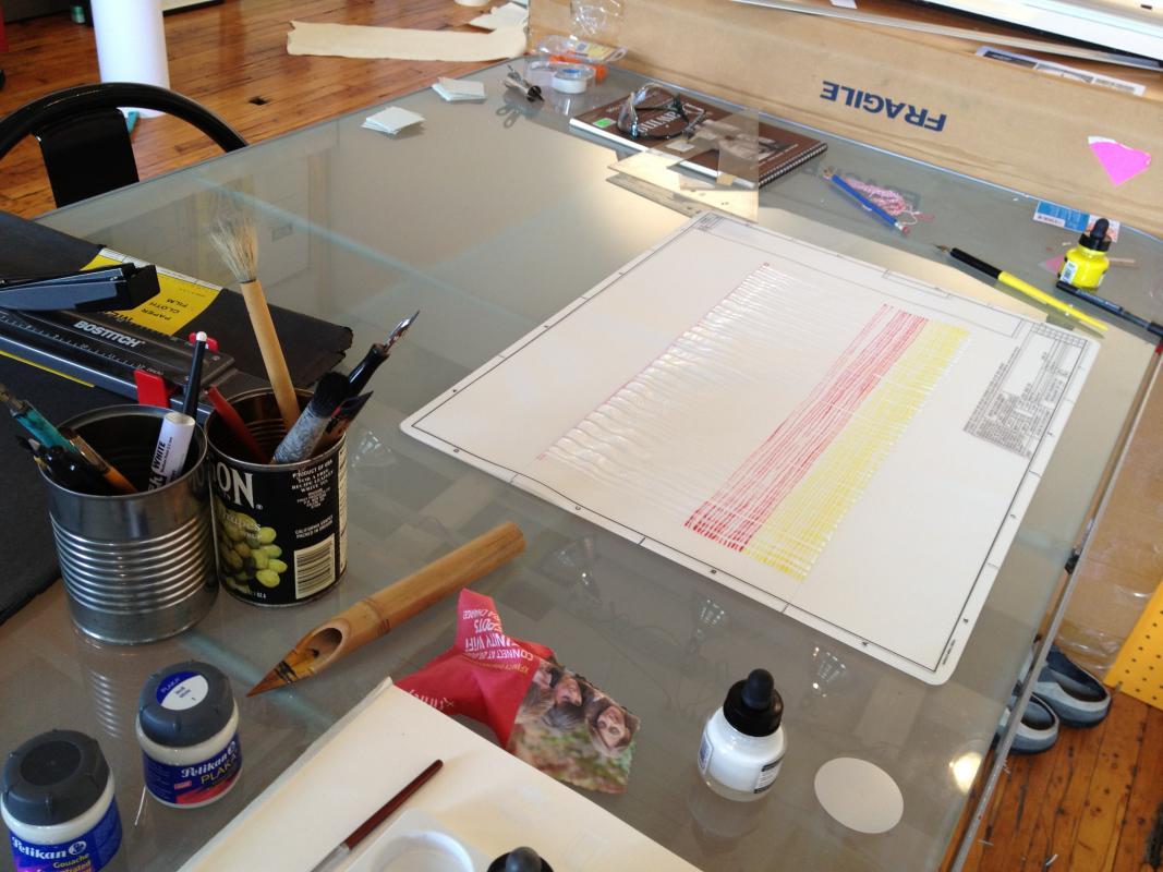 my worktable in the studio