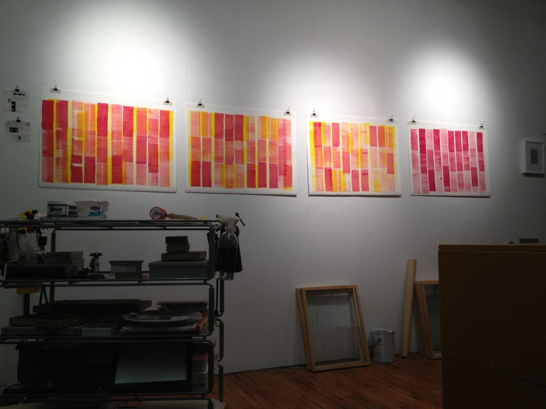 Stella Untalan In the studio magenta and yellow on the wall