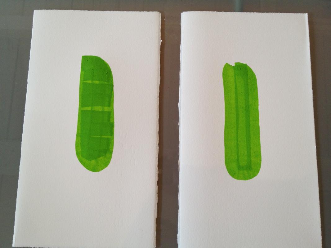 first drawing test, green ink marker