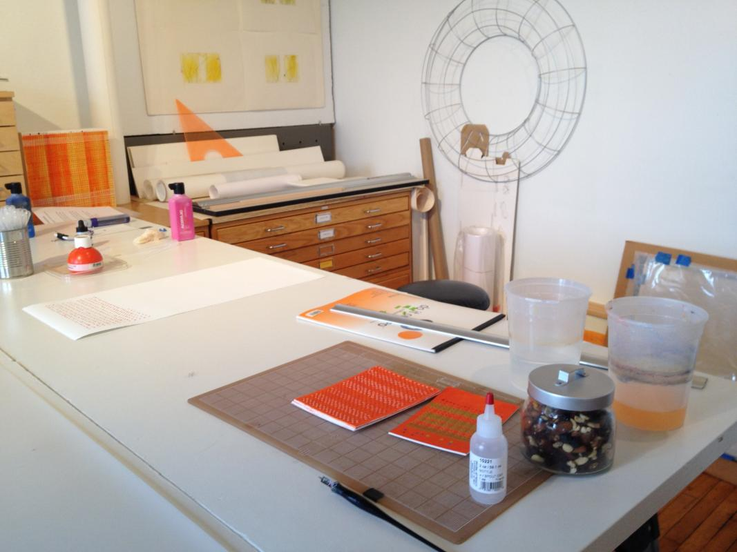 work surface in the studio