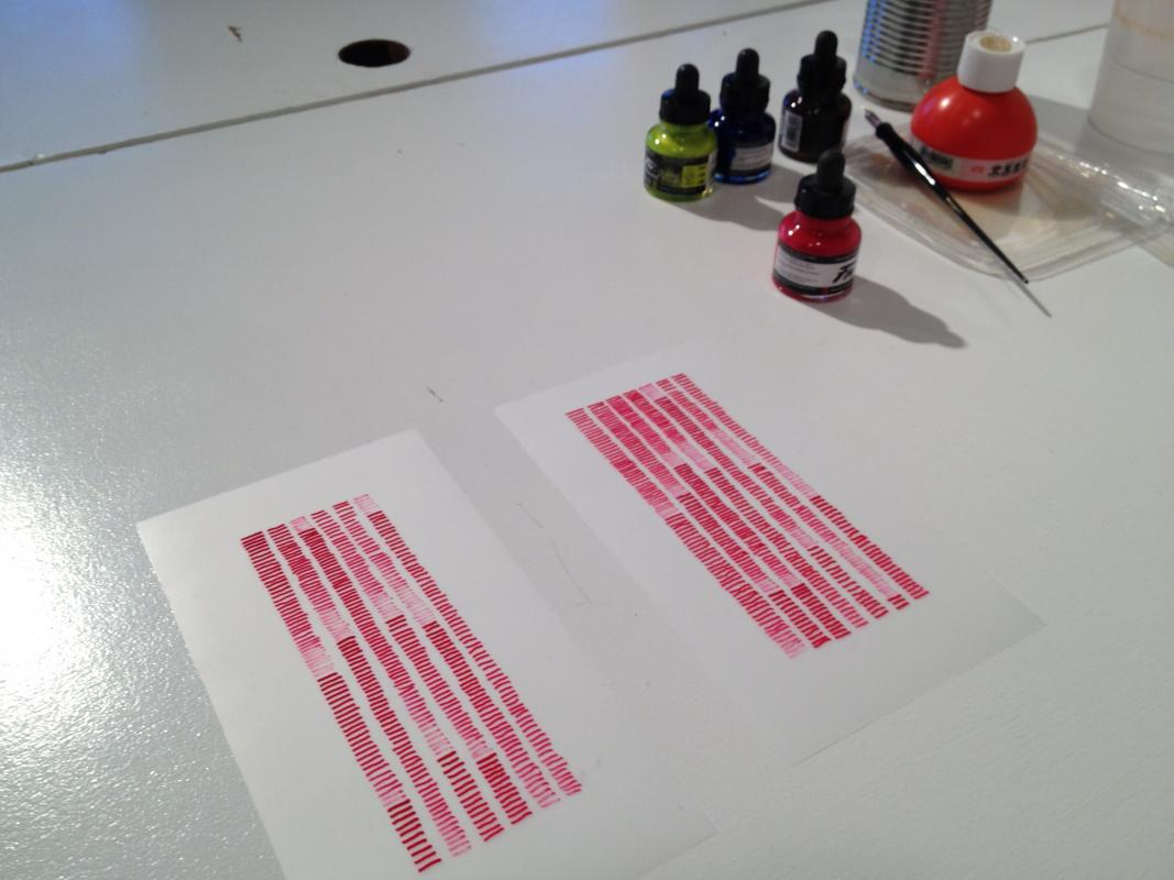 repetitive drawing in magenta by Stella Untalan