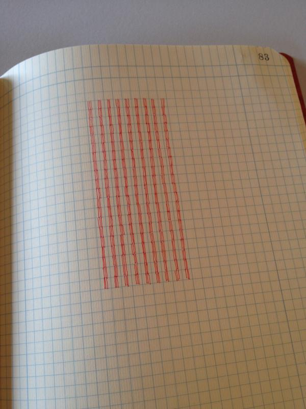 A drawing by Stella Untalan in a computation book with ink three lines