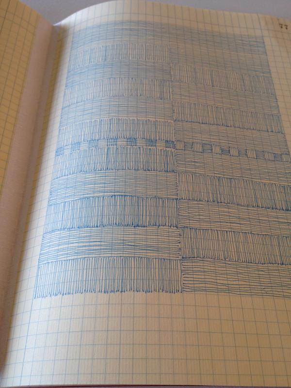 filling a page with lines in stella untalan's studio