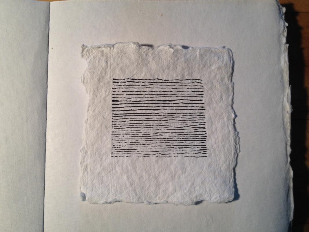 small paynes gray ink drawing on square paper by stella untalan