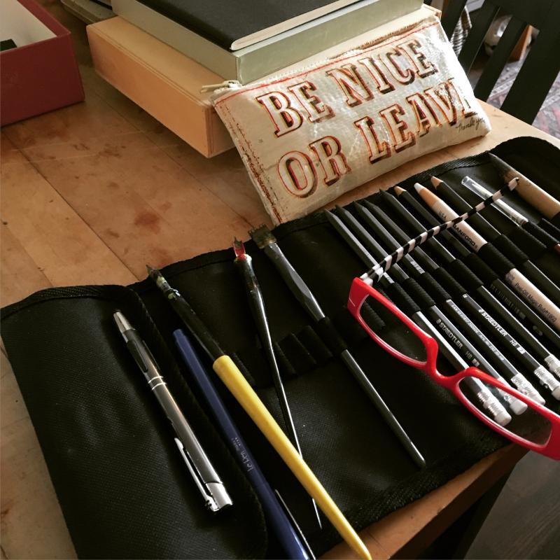 my tools in my pop up studio