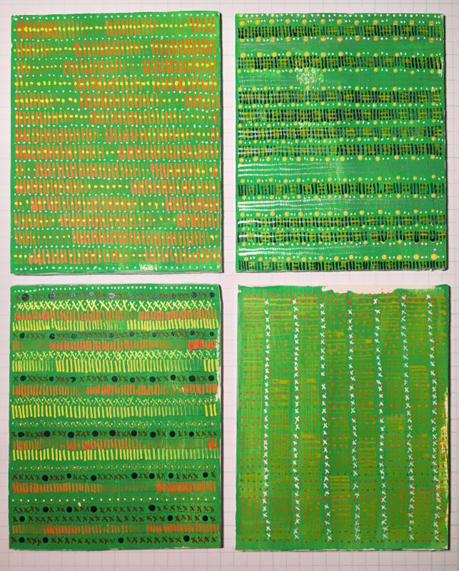 four new drawings in the Radical Warp Series, green