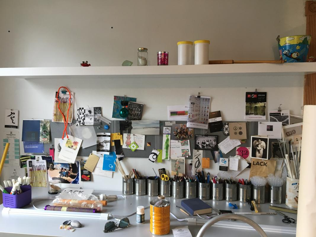 installing a new shelf in the studio