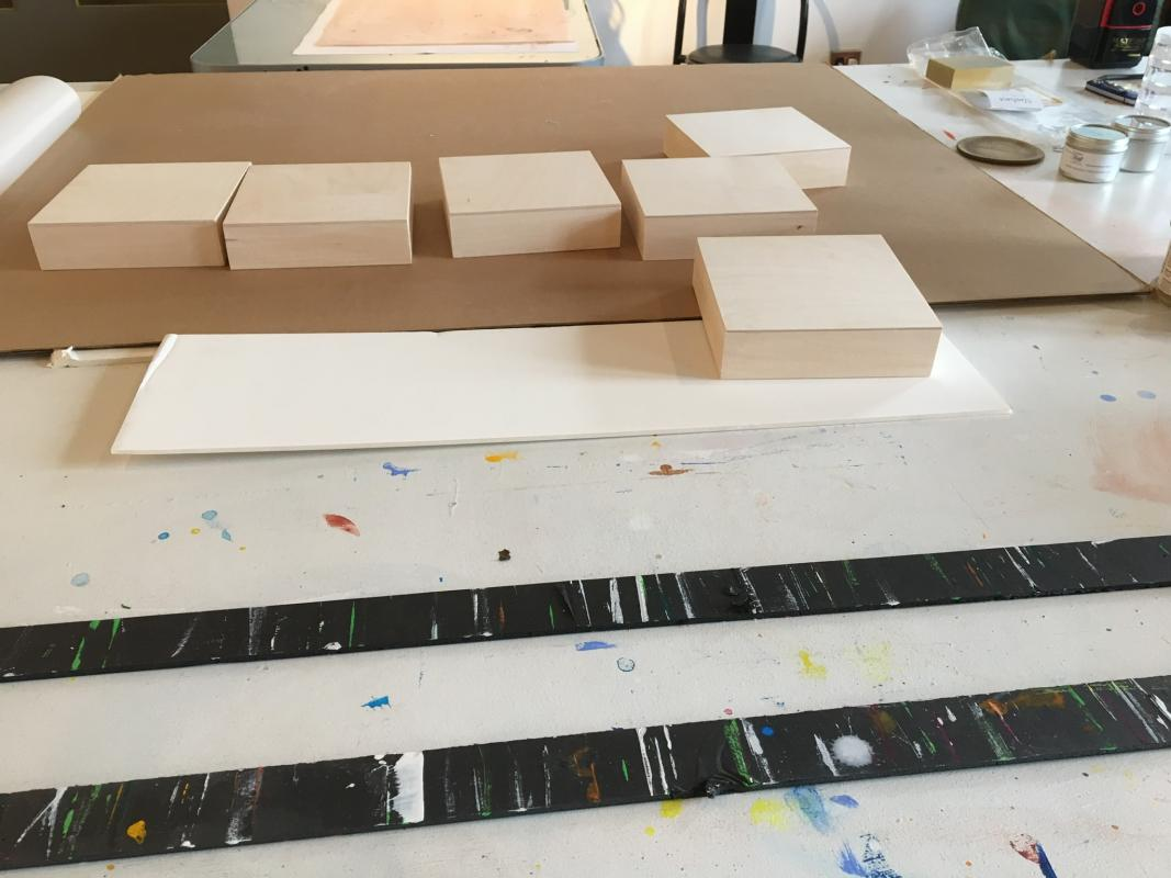 Prepping new boards in the studio