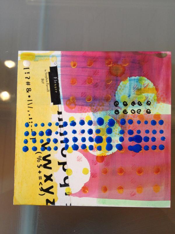 Bleep Bleep mixed media art square
