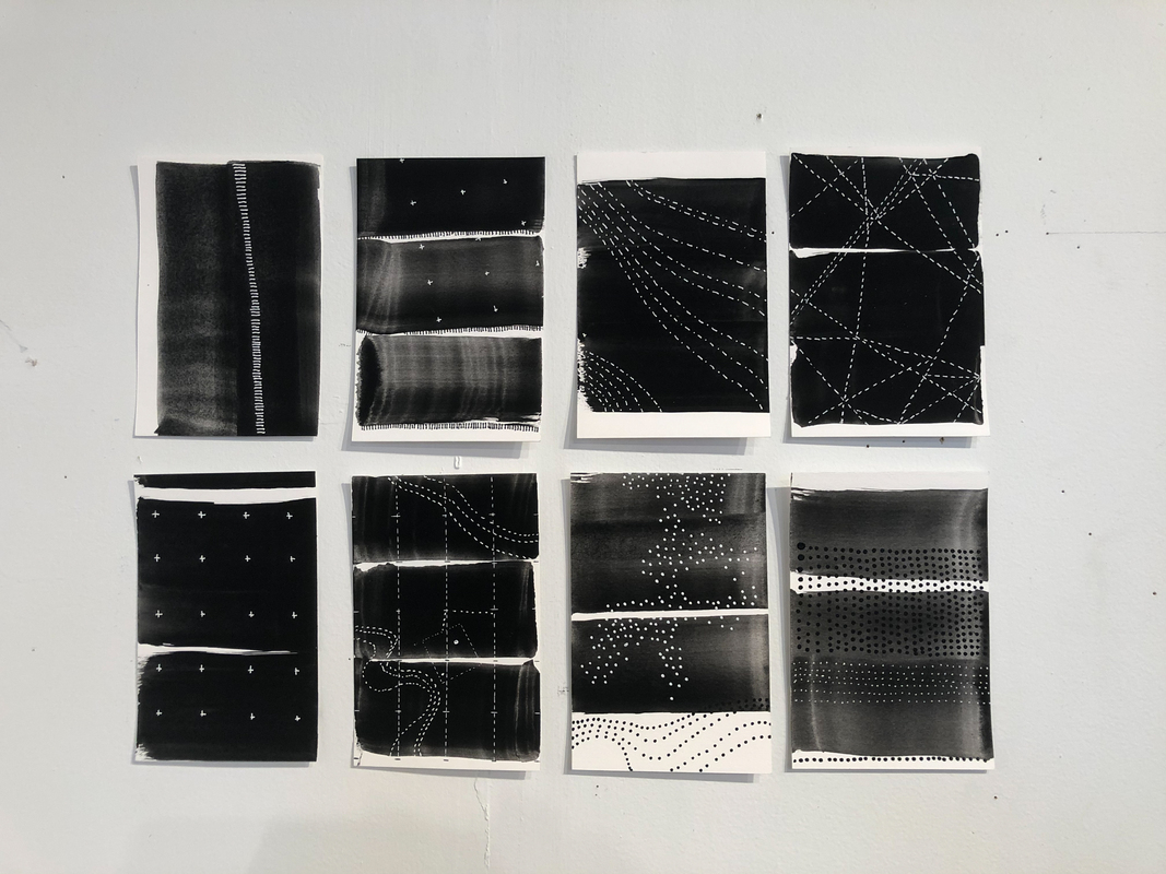 Eight black and white drawings for Mapping the Terrain by Stella Untalan