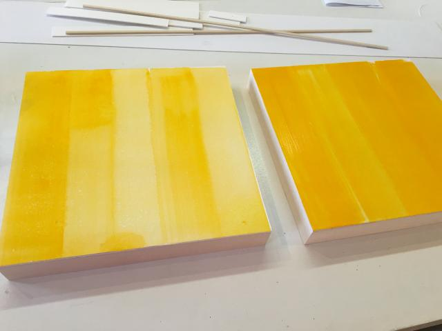 two prepped panels now yellow for drawings by Stella Untalan