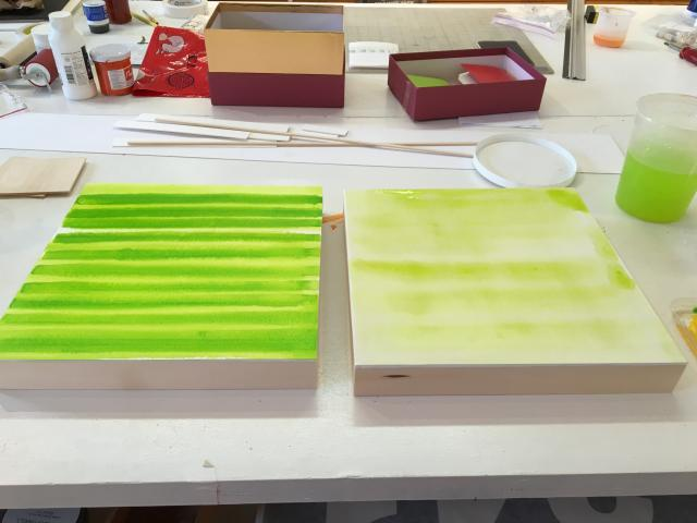 two prepped panels now green for drawings by Stella Untalan