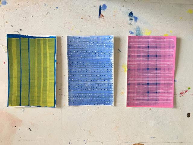Three small experimental drawings 4 x 6 inches by Stella Untalan